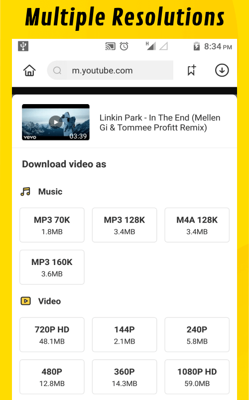Snaptube App multiple resolutions download
