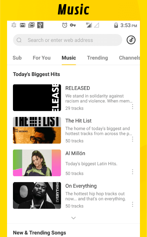 Snaptube App music list